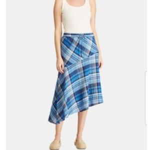 NWT Ralph Lauren plaid asymmetrical linen skirt 6